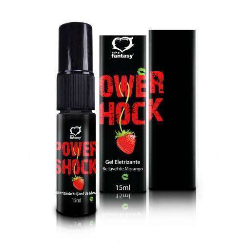 Gel Excitante Eletrizante Power Shock Beijável - Morango - 15ml SPRAY