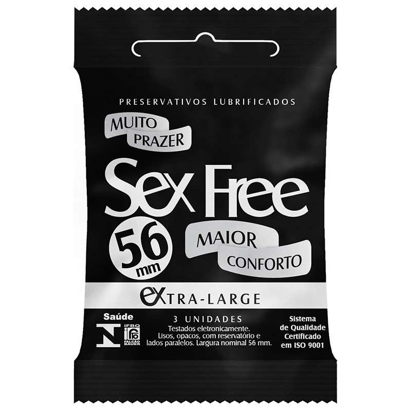 Preservativo Lubrificado Sex Free EXTRA LARGE 56mm - mais grosso - com 3 Un.