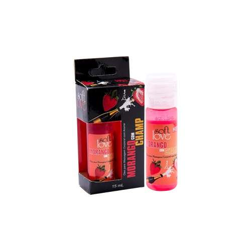 Gel Comestível Excita e Esquenta - Hot 15ml - Soft Love - MORANGO C/ CHAMPAGNE